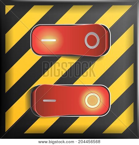 Realistic Toggle Switch Vector. Danger Background. Red Switches With On, Off Position