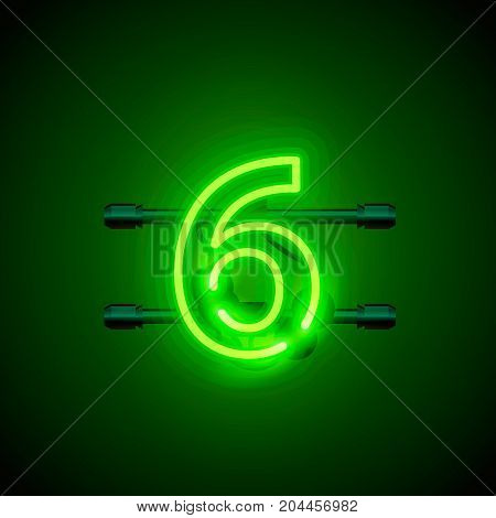 Neon city font sign number 6, signboard six. Vector illustration