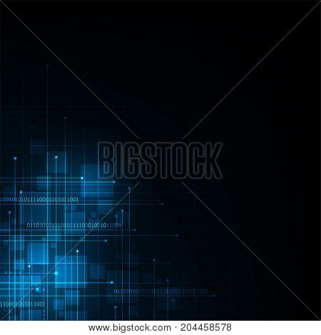 Vector technology of the digital world on a dark blue background.
