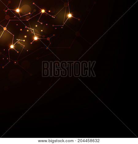Vector technology network design on a dark orange background.