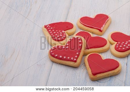 Cookies In The Shape Of Hearts On Valentine's Day