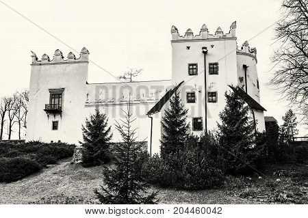 Beautiful chateau Strazky Slovak republic. Cultural heritage. Architectural theme. Black and white photo.
