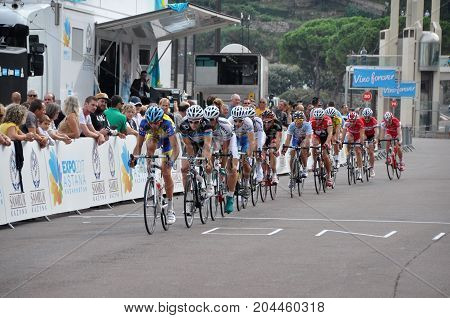 Monte Carlo, Monaco - October 2012: Finish of a professional road bike race in Monte Carlo in October 2012