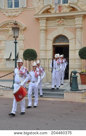 Monte Carlo, Monaco - October 2012: Changing of the guard in Monte Carlo in October 2012