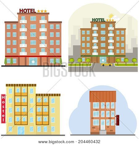 Hotel a hotel suite a hostel a place to stay overnight. Flat design vector illustration vector.