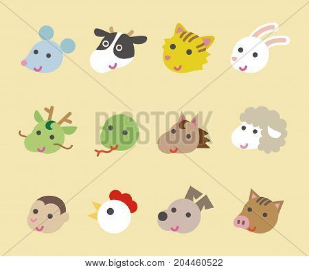 Twelve Chinese zodiac animal signs illustration set