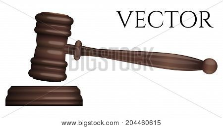 Judge gavel isolated on white photo-realistic vector illustration