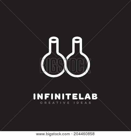 Infinite lab outline overlap logo template design. Vector illustration.