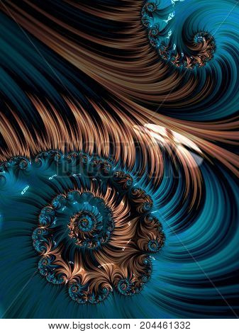 Brown and blue spiral abstract fractal pattern background. White spiral abstract background. Decorative concept