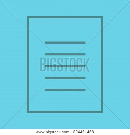 Document linear icon. Text page. New file. Thin line outline symbols on color background. Vector illustration