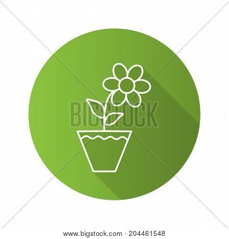 Crocus in flowerpot flat linear long shadow icon. Vector outline symbol