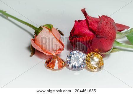 Light Pendant Shine On The Colorful Gemstones.