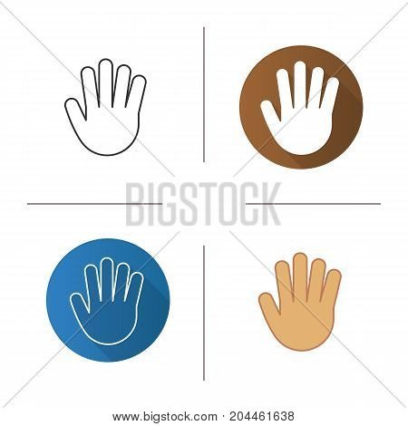 Palm icon. Flat design, linear and color styles. Stop, greeting and high five hand gesture. Isolated vector illustrations