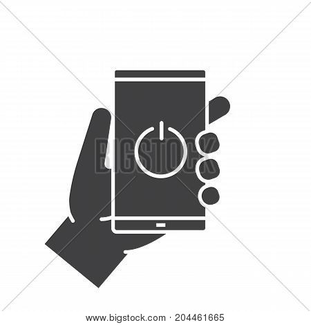 Hand holding smartphone glyph icon. Silhouette symbol. Turn off smart phone. Negative space. Vector isolated illustration