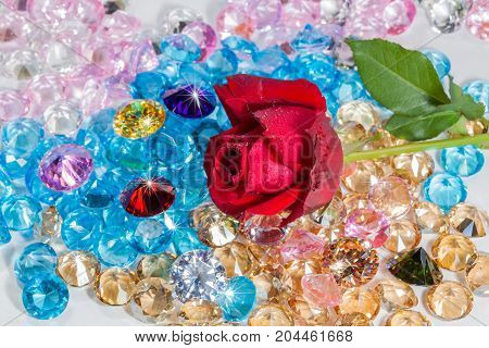 Red Rose Flower On The Colorful Gemstones