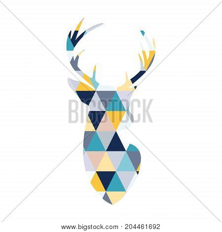 The head of the Scandinavian deer is colored by multi colored triangles. Scandinavian style.