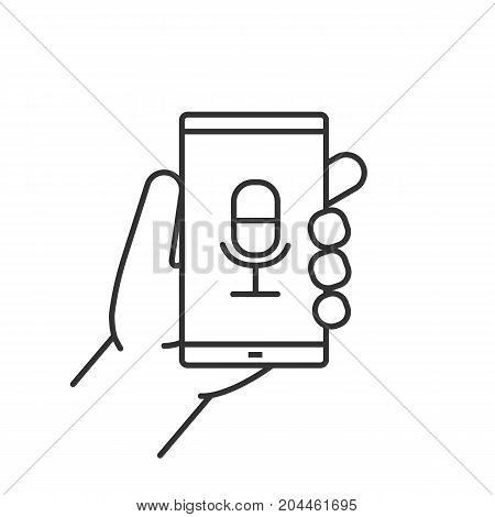 Hand holding smartphone linear icon. Thin line illustration. Smartphone voice recorder. Contour symbol. Vector isolated outline drawing
