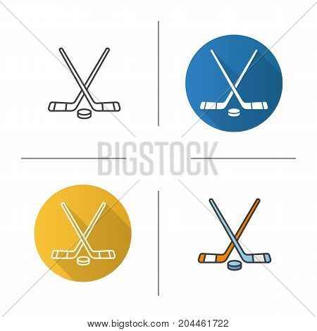 Ice hockey equipment icon. Flat design, linear and color styles. Crossed hockey sticks and rubber puck. Isolated vector illustrations