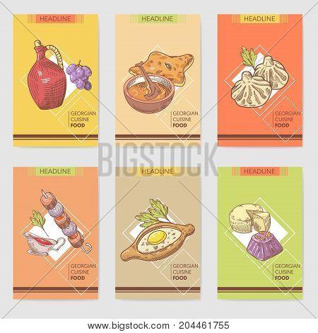 Hand Drawn Georgian Food Brochure Template. Georgia Traditional Cuisine with Dumpling and Khinkali. Vector illustration