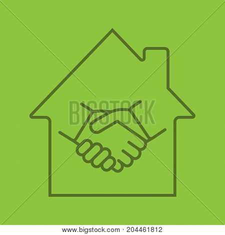 Real estate deal linear icon. House with handshake inside. Property purchase. Thin line outline symbols on color background. Vector illustration