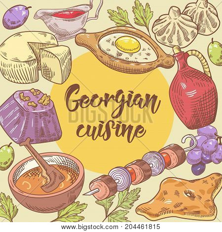 Hand Drawn Georgian Food Design. Georgia Traditional Cuisine with Dumpling and Khinkali. Vector illustration