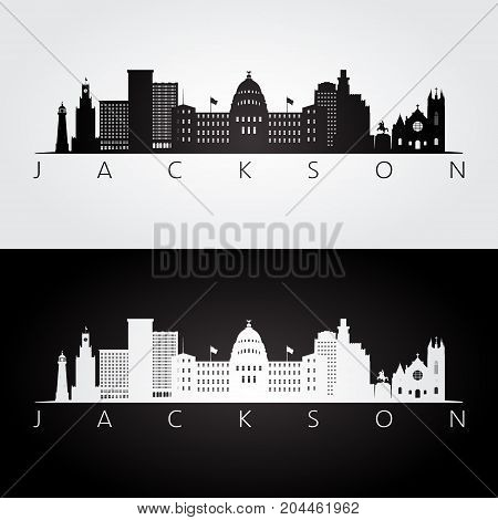 Jackson USA skyline and landmarks silhouette black and white design vector illustration.