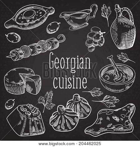 Hand Drawn Georgian Food on Chalkboard. Georgia Traditional Cuisine with Dumpling and Khinkali. Vector illustration