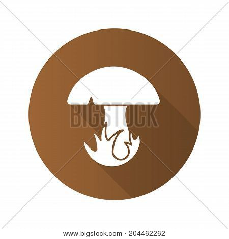 Mushroom in grass flat design long shadow glyph icon. Vector silhouette illustration