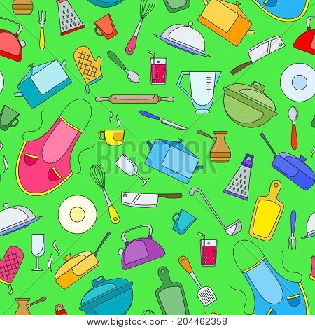 Seamless pattern on the theme of cooking and kitchen utensils simple painted icons on green background