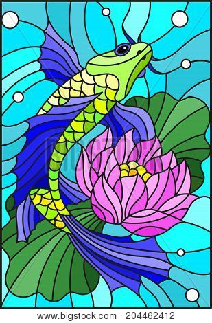 Illustration in style of a stained-glass window with a bright fish and a flower of a lotus against water and vials of air