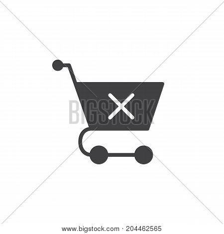 Shopping cart with x mark icon vector, filled flat sign, solid pictogram isolated on white. Clear shopping cart symbol, logo illustration. Pixel perfect vector graphics