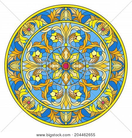 Illustration in stained glass style round mirror image with floral ornaments and swirls