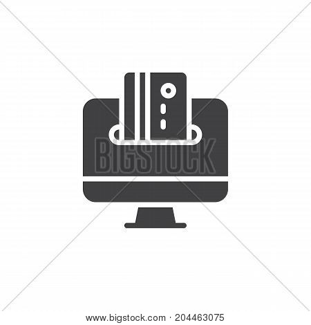 Computer screen and credit card icon vector, filled flat sign, solid pictogram isolated on white. Online payment symbol, logo illustration. Pixel perfect vector graphics