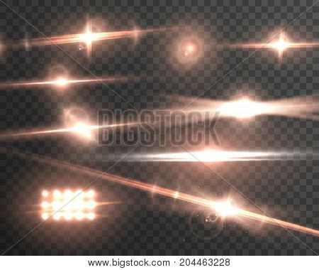 Illustration of Vector Lens Flare Effect. Realistic Vector Sun Flare Transparent Explosion