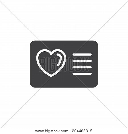 Card with heart icon vector, filled flat sign, solid pictogram isolated on white. Loyalty card symbol, logo illustration. Pixel perfect vector graphics