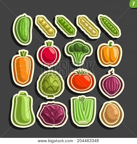 Vector Set icons of fresh Vegetables: 16 minimal labels for veg nutrition on black background, set of cartoon simple vegan stickers, tags for vegetarian organic food, flat vegetable graphic pictograms