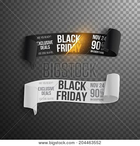 Illustration of Black Friday Paper Scroll. Realistic Vector Paper Scroll Template
