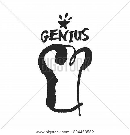 Chef Genius. Hand written calligraphy lettering and chef hat illustration. Black on white background. Clipping paths included.