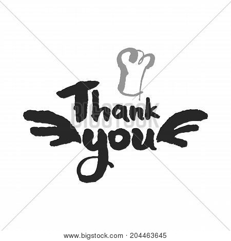 Hand written calligraphy Thank You Chef lettering. Isolated on white background. Clipping paths included.
