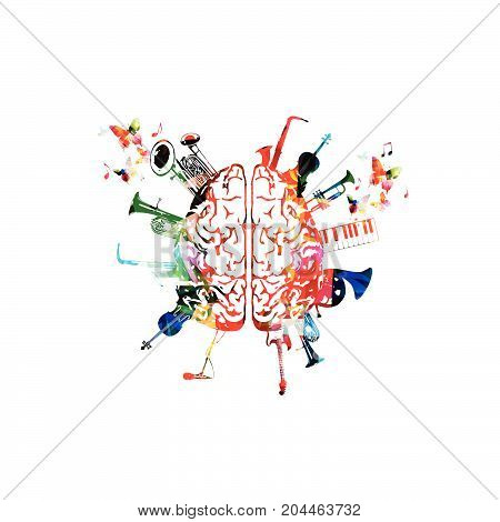 Music design vector. Colorful human brain with music instruments isolated. Brain with saxophone, violoncello, trumpet, piano keyboard, french horn, euphonium, microphone and guitar vector illustration