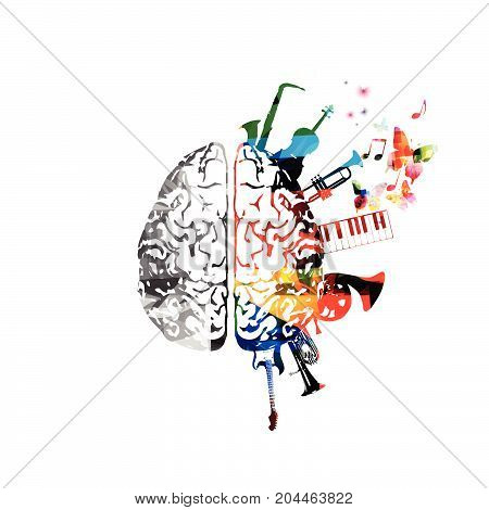 Music design vector. Colorful human brain with music instruments isolated. Brain with saxophone, violoncello, trumpet, piano keyboard, french horn, euphonium and guitar vector illustration