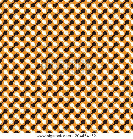 Seamless black and orange abstract interlocking pattern