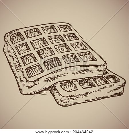 Engraving of waffles. Delicious morning meal in the style of the counter. Vector illustration. EPS 10.