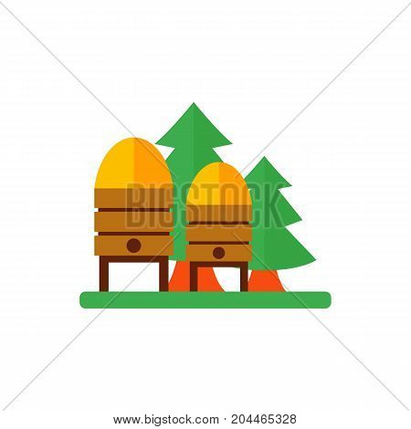 Icon of apiary hives. Colony, honey, nectar. Bee garden concept. Can be used for topics like agriculture, beekeeping, farm