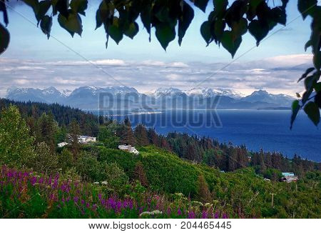 Homer, USA, 2017.07.24: A view to Homer Spit and the Kachemak mountains.