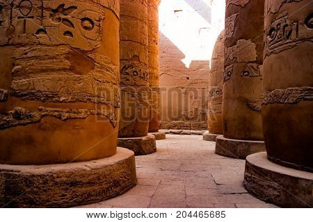 Temple column with Ancient Egyptian hieroglyphs in Luxor
