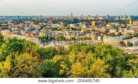 Kiev or Kiyv, Ukraine: aerial panoramic view of the city center in the summer