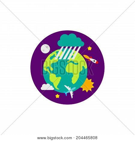 Icon of Earth in space. World, planet, ecosystem. Cosmos concept. Can be used for topics like geography, traveling, meteorology