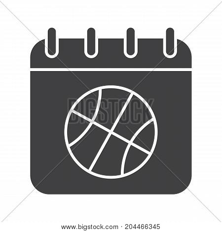 Basketball championship date glyph icon. Silhouette symbol. Calendar page with basketball ball. Negative space. Vector isolated illustration