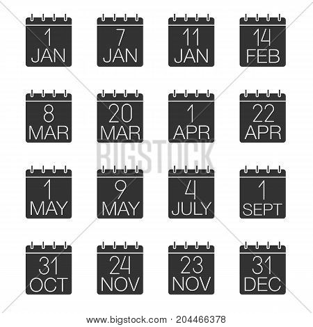 Holidays calendar glyph icons set. Wall calendars. Dates and occasions. Silhouette symbols. Vector isolated illustration